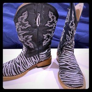Black & Silver Glitter Zebra print boots